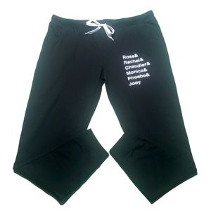 Friends Black Drawstring Joggers with Pockets.
